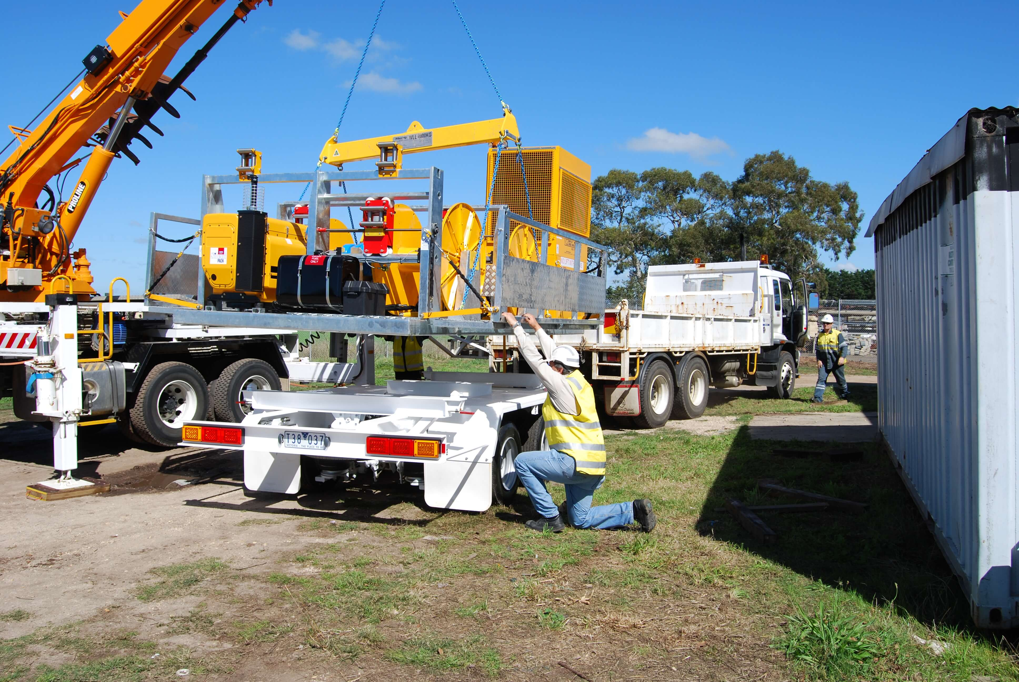 Hydeng Cable Hauling machine loaded onto trailer