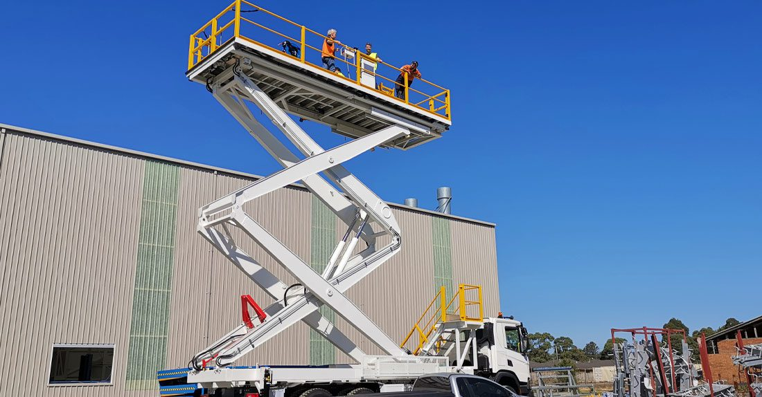 Scissor lift on truck
